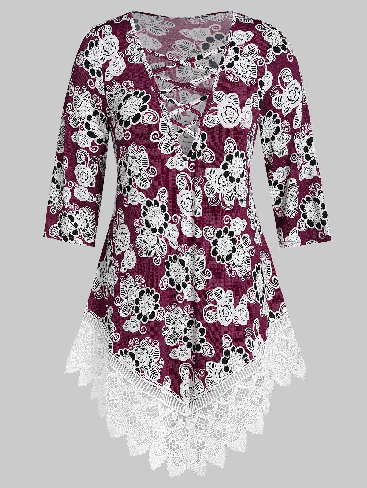 Plus Size Criss Cross Floral Print Tunic T Shirt - RED WINE 2X