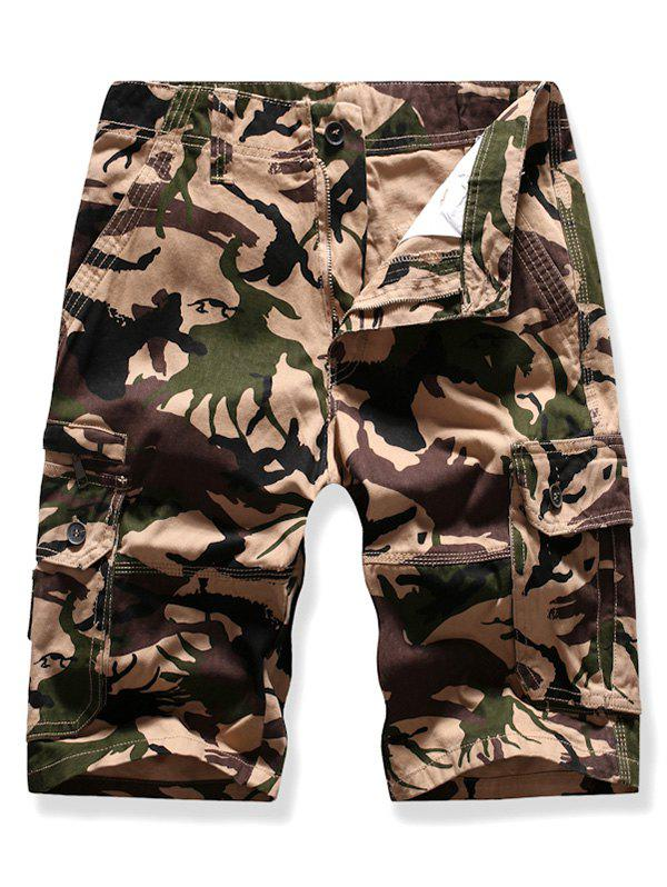 Side Flap Pocket Camouflage Print Cargo Shorts - KHAKI 38