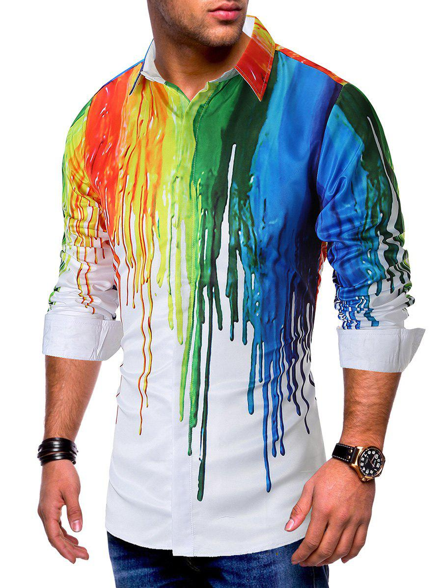 Colorful Painting Splatter Print Long Sleeves Casual Shirt - WHITE L