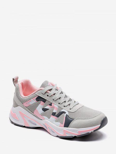 Breathable Knit Camo Trim Sports Shoes - GRAY EU 38