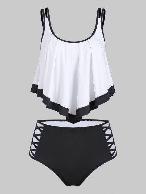 Contrast Trim Flounce Overlay Criss Cross Tankini Swimsuit - WHITE S