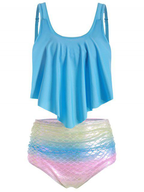 Rainbow Mermaid Overlay Tankini Swimsuit - CRYSTAL BLUE 2XL