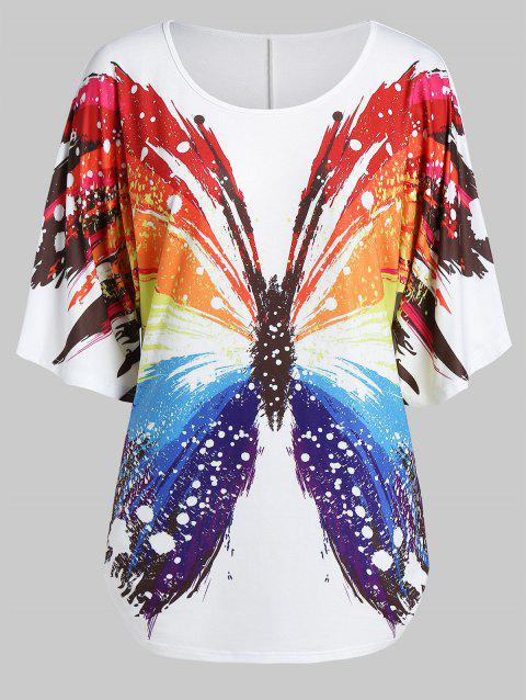 Plus Size Butterfly Print Half Sleeve Tunic T Shirt - WHITE 1X