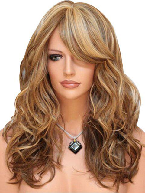 Synthetic Long Side Bang Body Wave Wig - BROWN