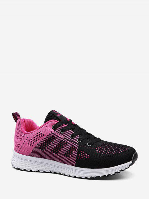 Mesh Trim Breathable Casual Sport Sneakers - ROSE RED EU 38