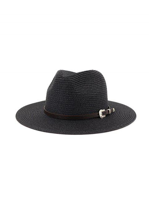 Belt Embellished Straw Outdoor Jazz Beach Hat - BLACK