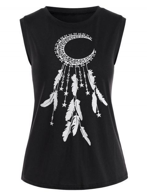 Abstract Moon Star and Feather Graphic Tank Top - BLACK M