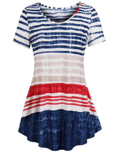 American Flag Stripes Curved Plus Size Top - multicolor A 2X
