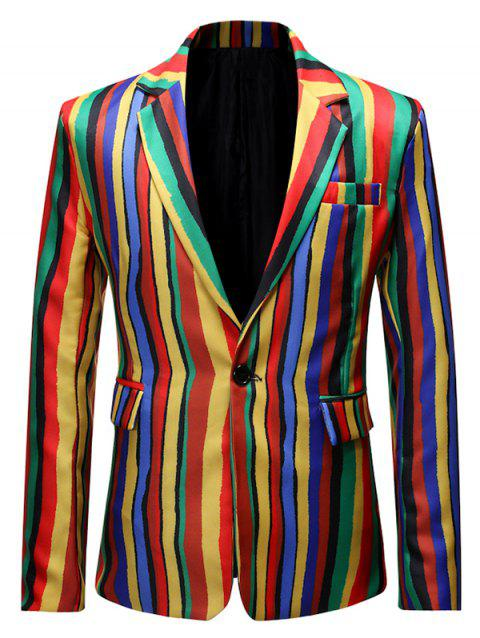 Pocket Decoration Striped Print Casual Blazer - multicolor D M