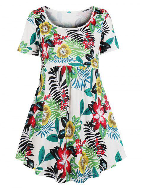 Floral Curved Short Sleeve Plus Size Top - multicolor B 3X