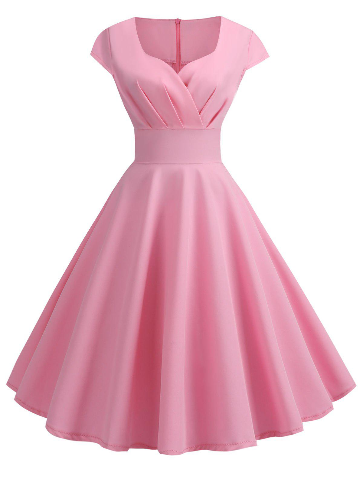 Sweetheart Neck Vintage Rockabilly Style Fit and Flare Dress - PINK XL