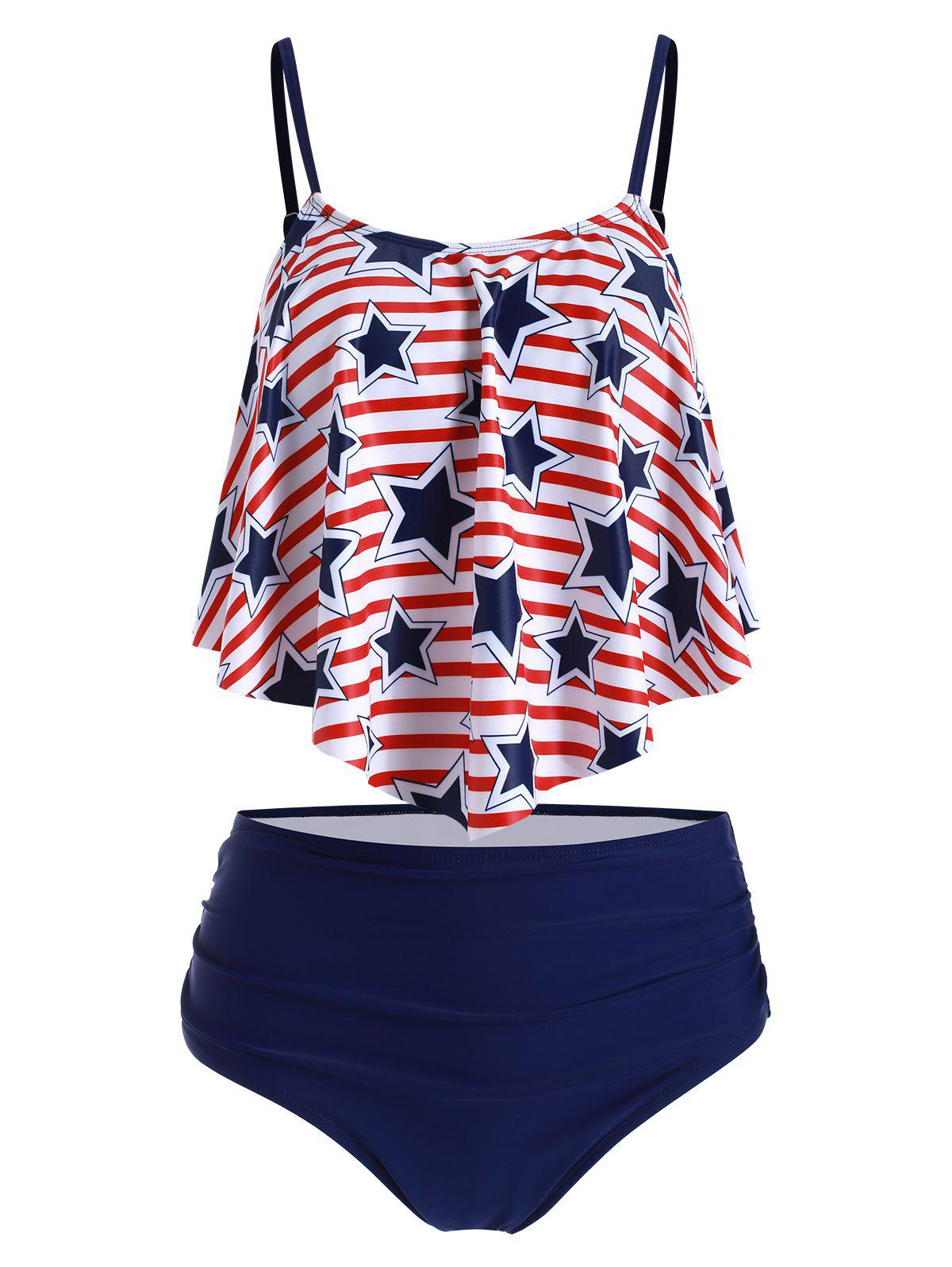 Star Striped Ruched Overlay Tankini Swimsuit - CADETBLUE 3XL