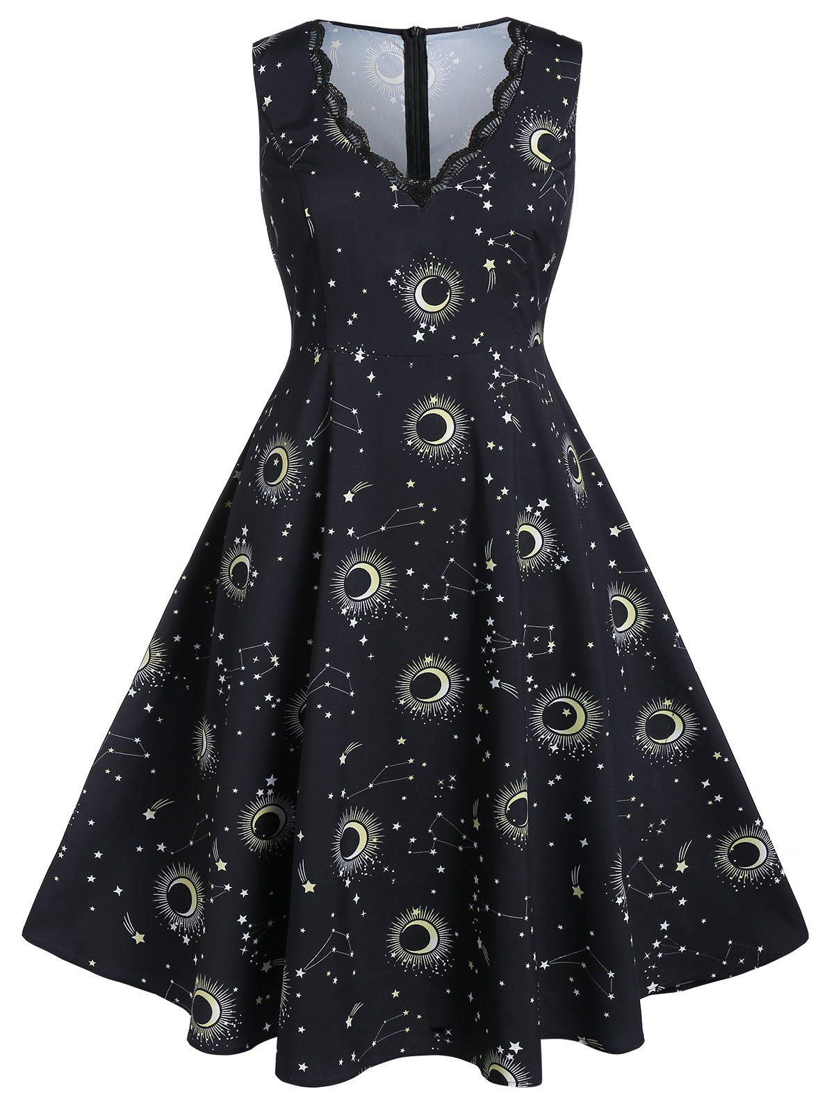 Plus Size Moon and Star Print Scalloped Midi Dress - BLACK 5X