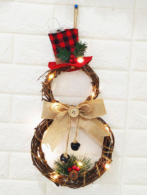 Snowman Pattern Christmas Wreath with LED String Light - FIREBRICK