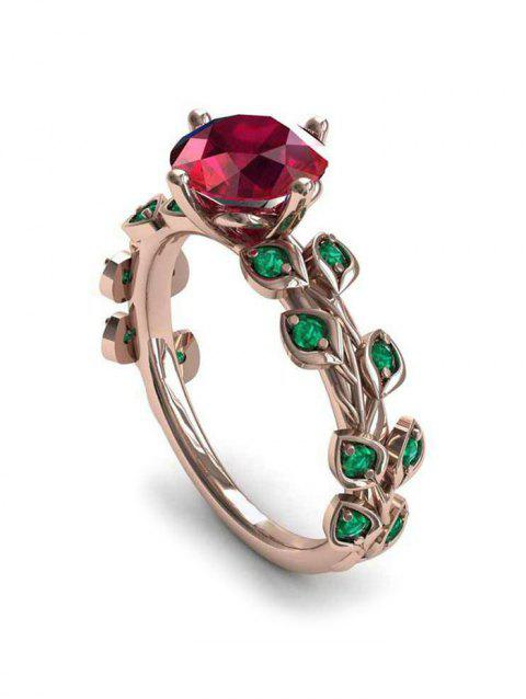 Floral Leaf Faux Zircon Ring - LAVA RED 10