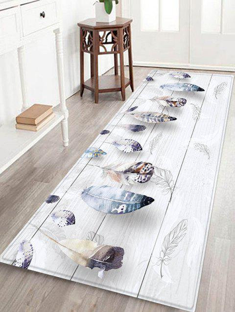 Wooden Board Feather Pattern Flannel Water Absorption Area Rug - PLATINUM W24 X L71 INCH