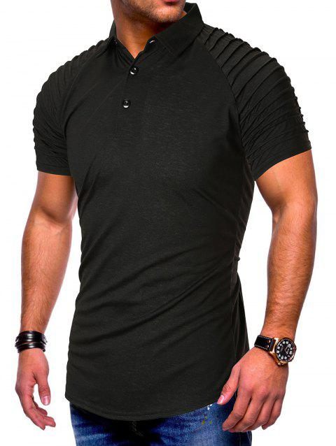 Pleated Raglan Sleeve Solid Color Half Button T-shirt - BLACK M