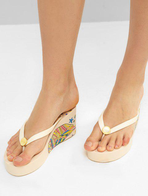 Ethnic Owl Wedge High Heel Thong Slides - WHITE EU 38