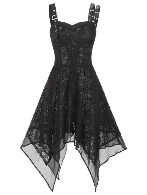 Asymmetrical Lace Buckle Grommet Strap Handkerchief Lace Up Dress - BLACK L