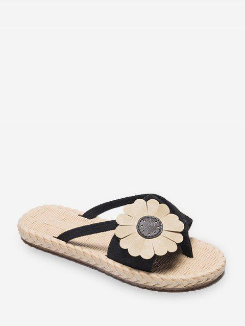 Flat Toe Post Flower Decor Slides - BLACK EU 37
