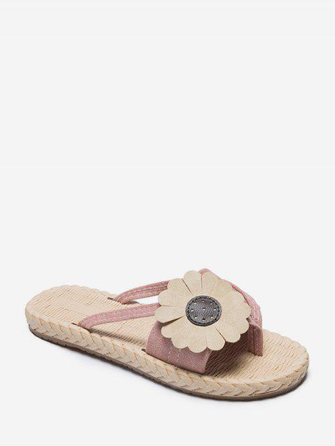 Flat Toe Post Flower Decor Slides - PINK EU 40