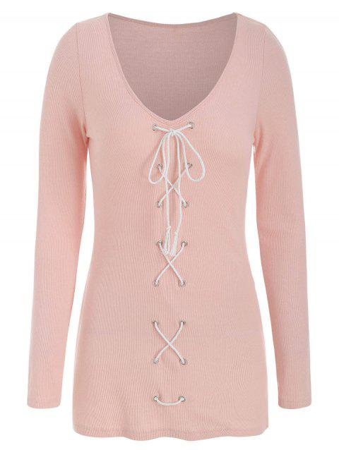 Plunge Rings Lace Up Long Sleeve T Shirt