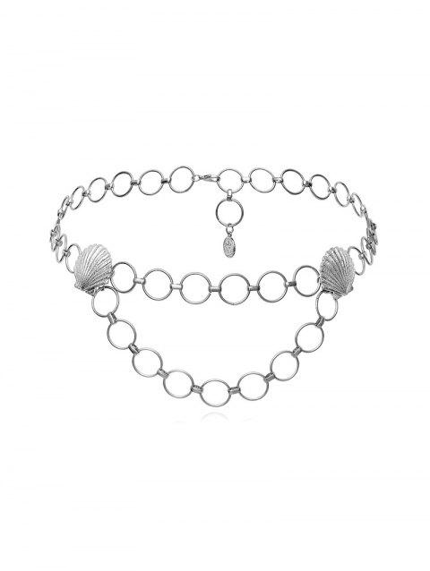 Scallop Embellished Circle Belly Chain - SILVER