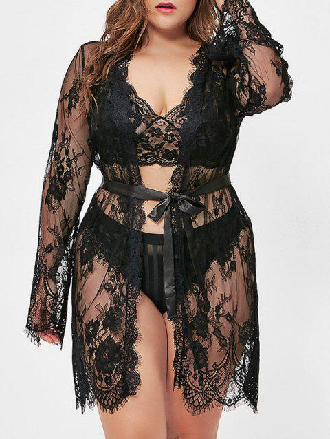 Lace Belted T Back Plus Size Robe - BLACK 4X