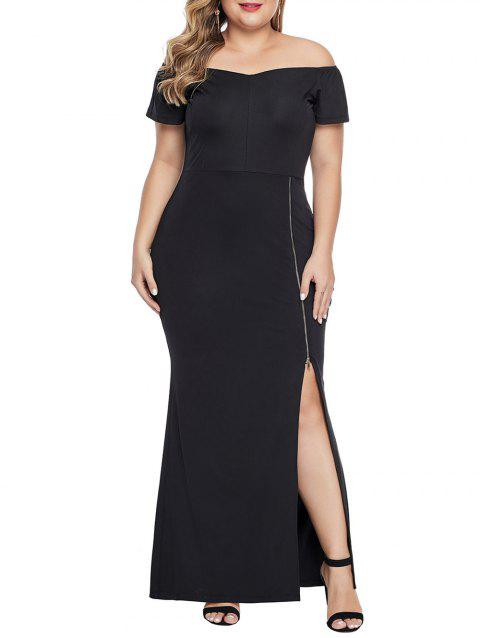 Zip Up Slit Off Shoulder Plus Size Dress - BLACK 5X