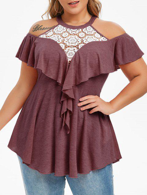 Plus Size Lace Insert Cold Shoulder Ruffled T-shirt - RED WINE 4X
