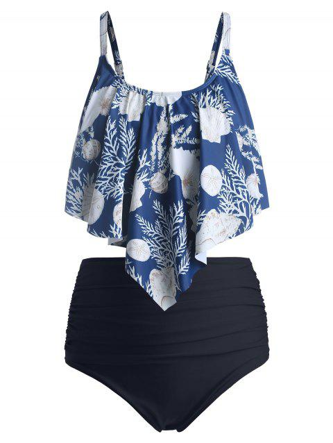 Plus Size Ruffled Printed Bikini Set - DEEP BLUE 4X
