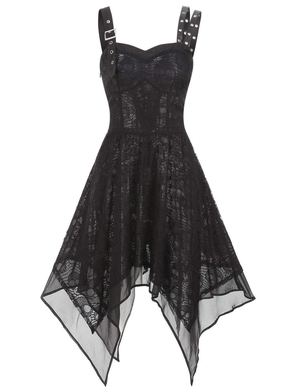 Asymmetrical Lace Buckle Grommet Strap Handkerchief Lace Up Dress - BLACK M