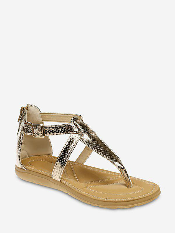 Snake Print Flat Thong Sandals - GOLD EU 41