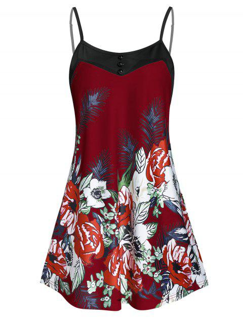 Cami Button Floral Print Tank Top - RED WINE 3XL