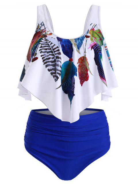 Feather Print Ruched Overlay Tankini Swimsuit - COBALT BLUE L