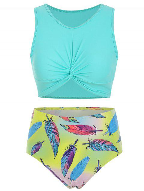 85a08b106 41% OFF] 2019 Scoop Neck Feather Print Twist Front Tankini Swimsuit ...