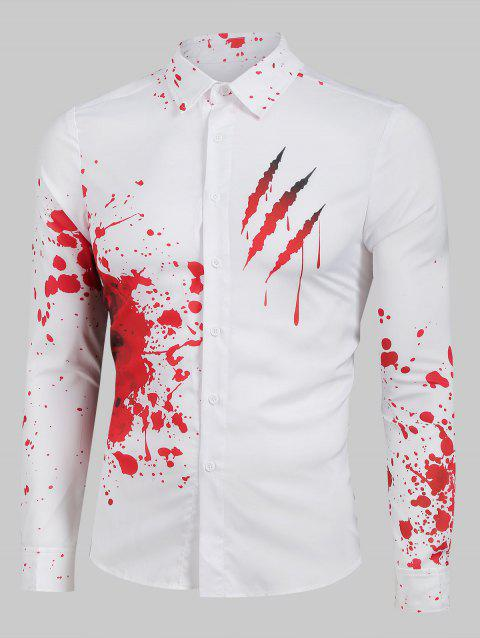 Bloody Claw Print Long Sleeve Button Up Shirt - WHITE L