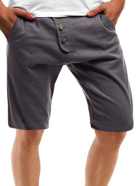 Solid Color Multi Pockets Metal Button Embroidery Shorts - LIGHT GRAY M