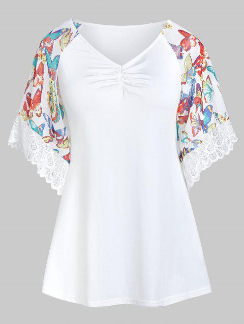 Butterfly Print Lace Insert Short Sleeve T Shirt - MILK WHITE 2XL