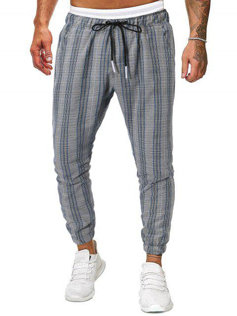 Houndstooth Plaid Pattern Side Pocket Jogger Pants - BLUE GRAY M
