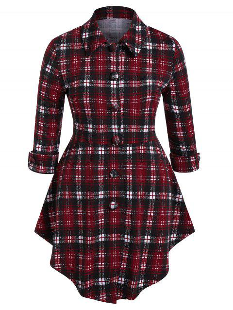 Plus Size Plaid Curved Peplum Top - RED WINE 1X