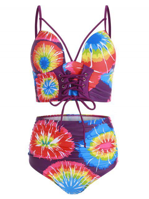 Lace Up Ruched Tie Dye Tankini Swimsuit - multicolor L