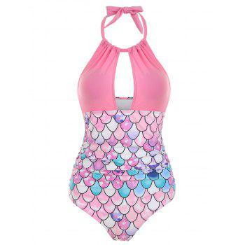 Cut Out Mermaid Ruched Halter Swimsuit