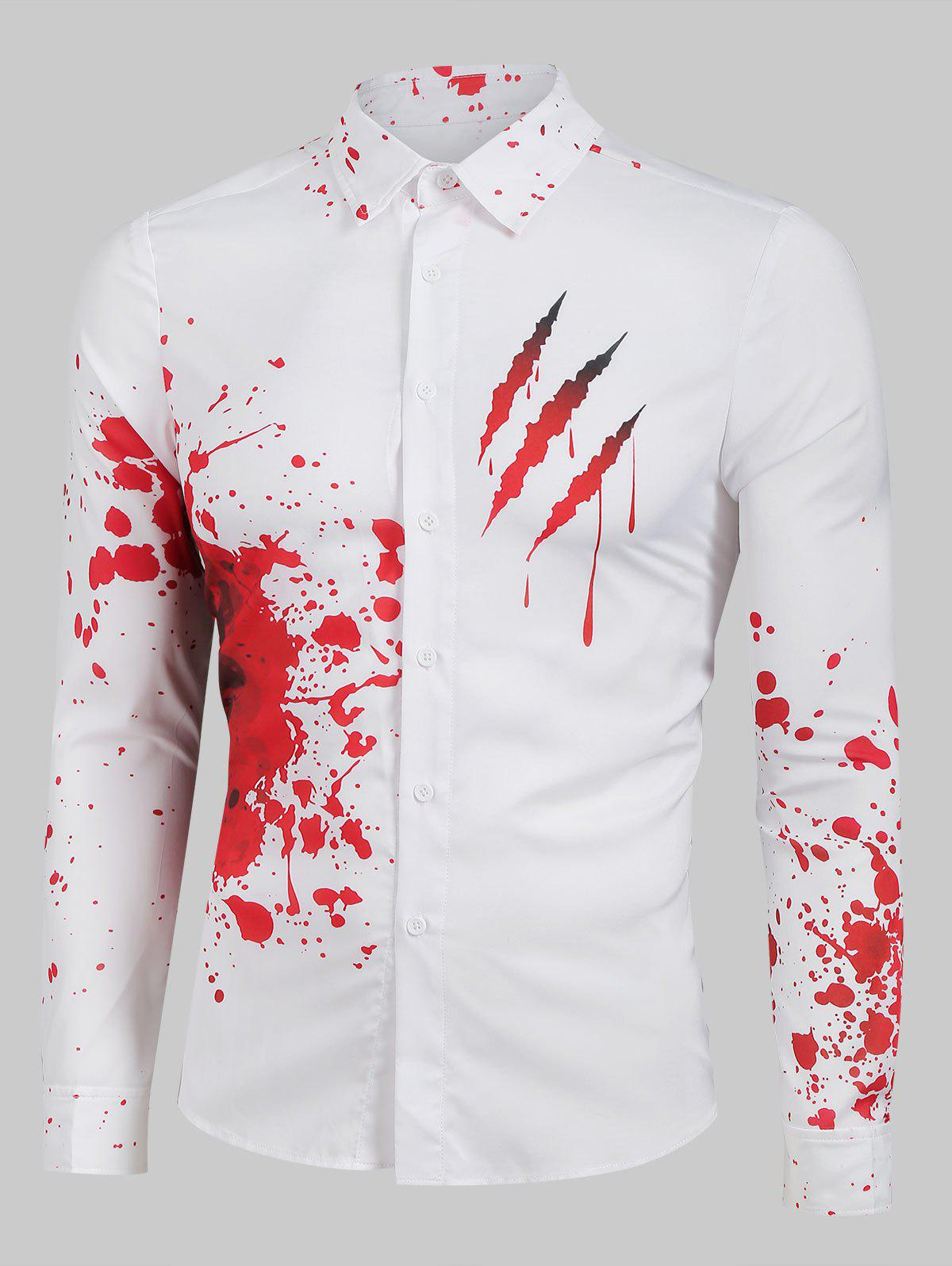 Bloody Claw Print Long Sleeve Button Up Shirt - WHITE M