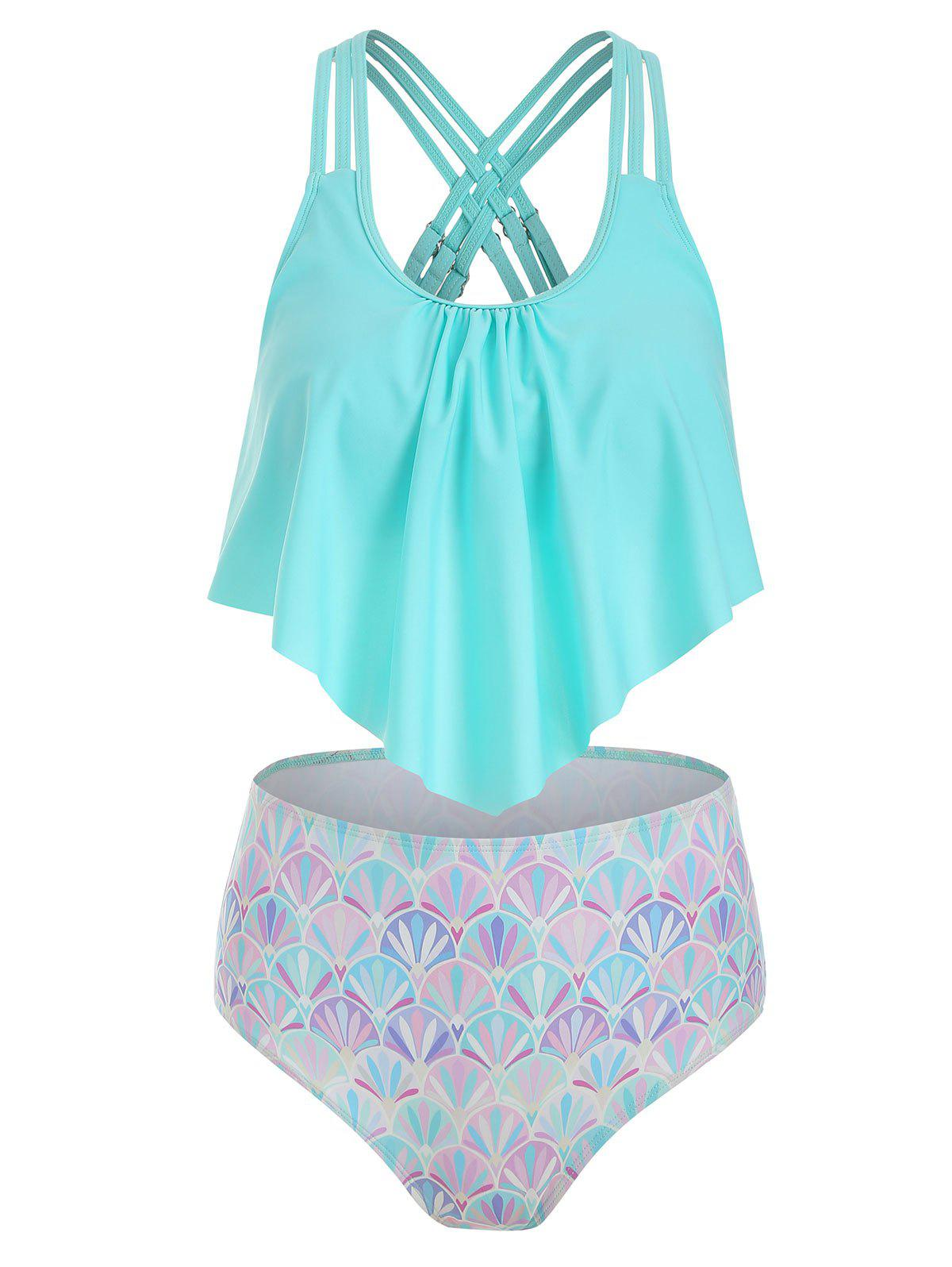 Strappy Flounce Overlay Mermaid Tankini Swimsuit - LIGHT AQUAMARINE S
