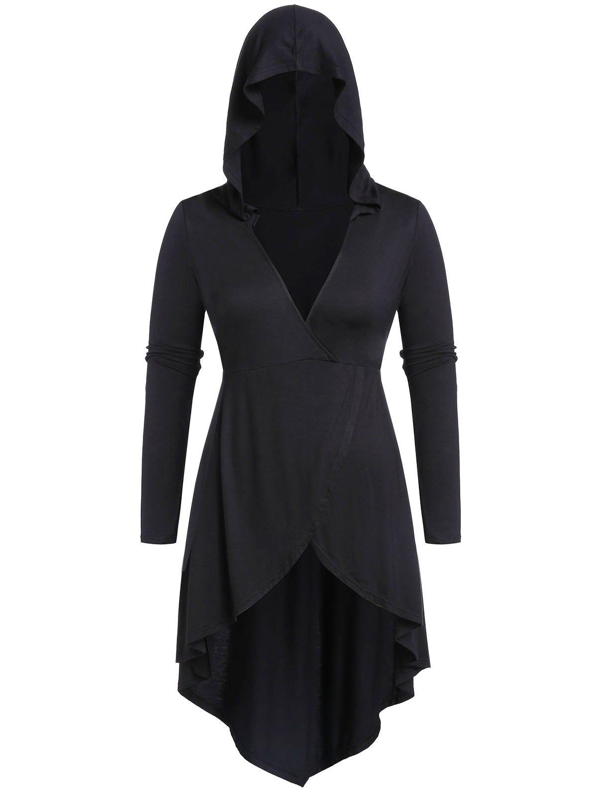 Plus Size Hooded Solid High Low T Shirt