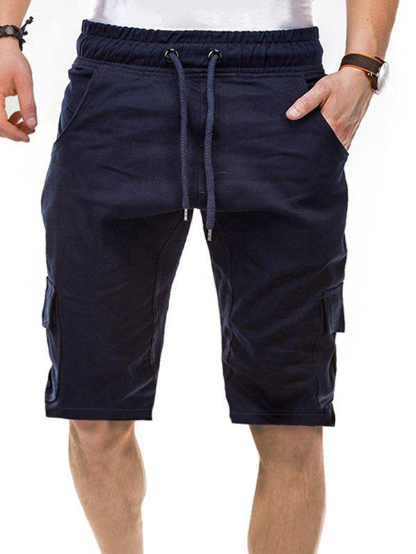 Short à Cordon en Couleur Unie à Cordon avec Multi-Poche - Cadetblue XS
