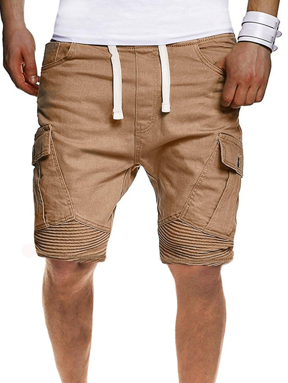 Solid Color Pleated Side Flap Pocket Shorts - KHAKI S
