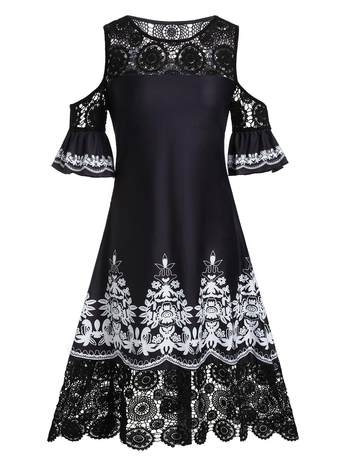 Plus Size Open Shoulder Ethnic Print Lace Crochet Dress - BLACK 5X