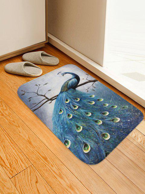 Peacock Print Design Floor Mat - BLUE GRAY W16 X L24 INCH